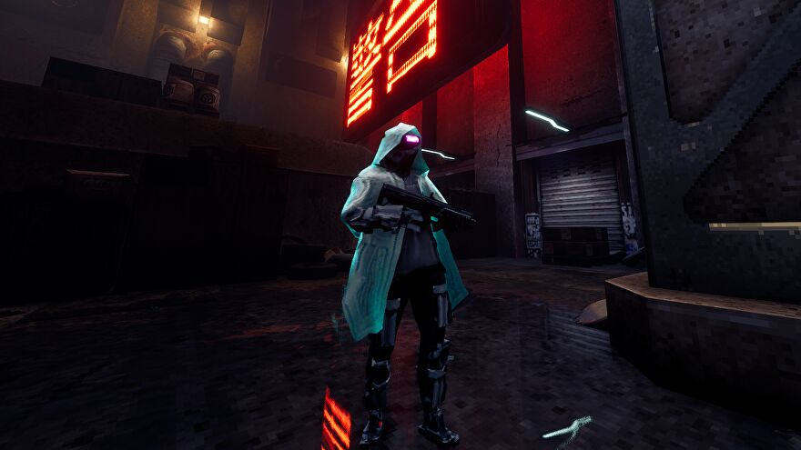 A Sprawl screenshot showing an enemy in a turquoise coat with a gun and glowing visor.