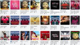 A selection of Squid Game-inspired games made by Roblox users. There are a lot of creepy doll faces.