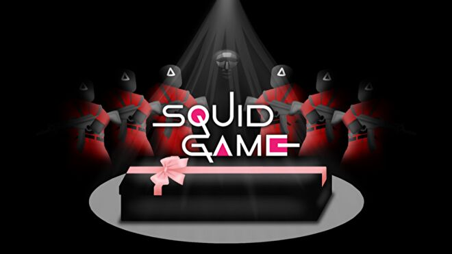 Six Roblox characters dressed as Squid Game guards flank a character dressed as the gamemaster. In the foreground is a coffin wrapped up like a gift box.