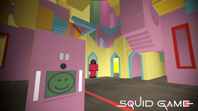 A Roblox recreation of the disorienting, pastel-coloured contestant hallway from Squid Game, including a character in guard uniform.
