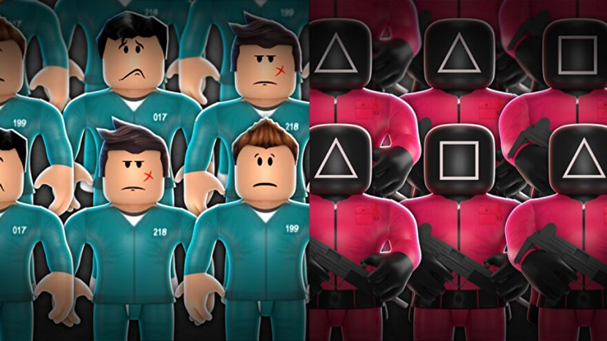 Two groups of Roblox characters stand in rows, dressed respectively as players and guards from the TV series Squid Game.