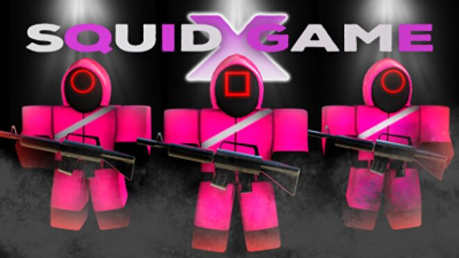 """Three Roblox characters in Squid Game guard costumes. Text in image reads """"Squid Game X""""."""