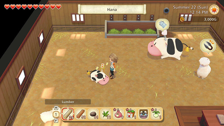 A screenshot of Story Of Seasons: Pioneers Of Olive Town showing the main character in a barn surrounded by a llama, calf and cow. The calf seems to be singing or humming.
