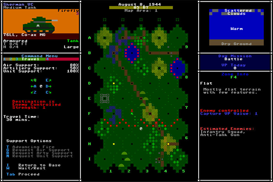 A screenshot of the ASCII interface for Armoured Commander 2, showing a battlefield from above and a lot of texty UI.