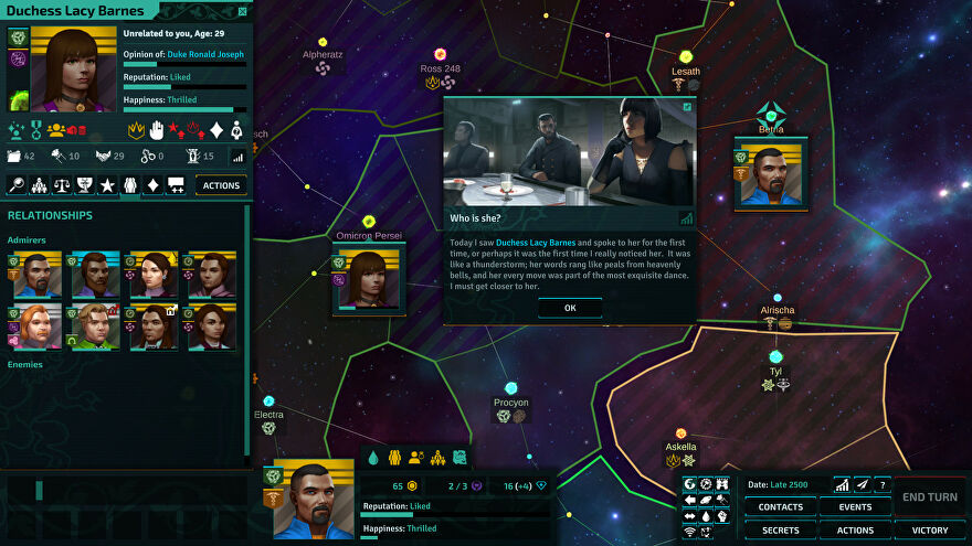 Star Dynasties screenshot showing a ruler's relationship panel and a new acquaintance Duchess Lacy Barnes with stats on their current reputation and relationship.