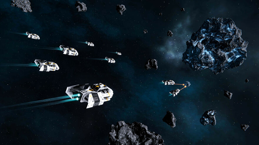 A screenshot of Star Exodus, showing several spaceships flying towards an asteroid while some smaller ships in the distance fire lasers at an enemy ship.