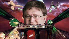 A screenshot from the cockpit of a spaceship in Star Wars Squadrons, Gabe Newell can be seen looking in the window