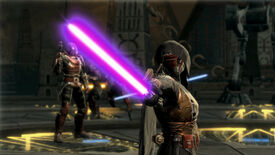 A Jedi holds out a purple lightsaber in Star Wars: The Old Republic