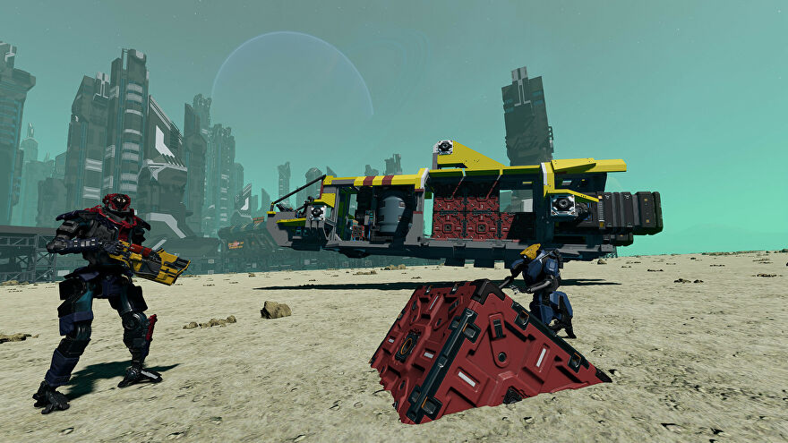 Robotic space farers look around a desert planet in Starbase