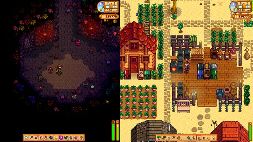 Stardew Valley split screen co-op: one player walks through the mins while the other processes metals on the farm.
