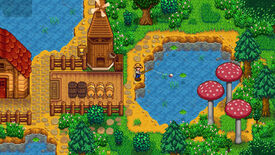 Fishing from a pond in a Stardew Valley screenshot.