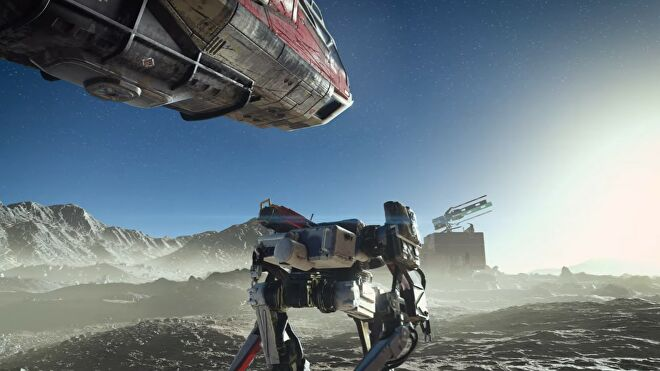 A robot wanders next to a spaceship on a dusty planet in the Starfield trailer.