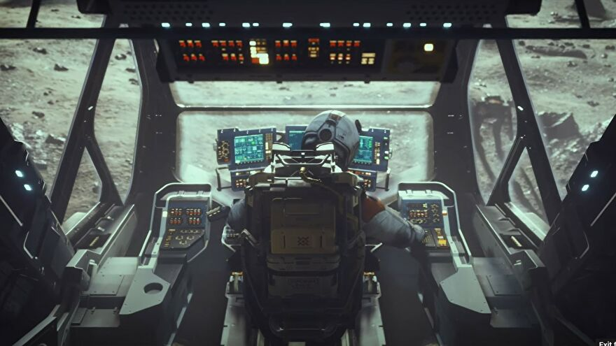 An astronaut in the cockpit of a ship in Starfield's new trailer.