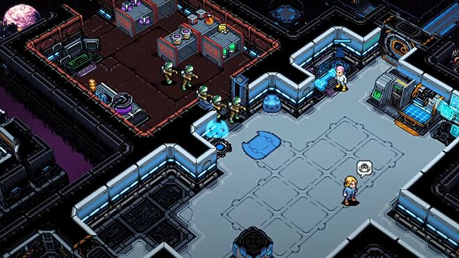 A space station is invaded by aliens that have their arms outstretched like shambling zombies.