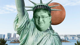 The Statue of Liberty with the face of Gabe Newell, standing in New York, with the planet of Mars behind the statue's head.