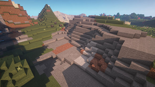 A Minecraft screenshot of a landscape displayed using the Stay True Texture Pack.