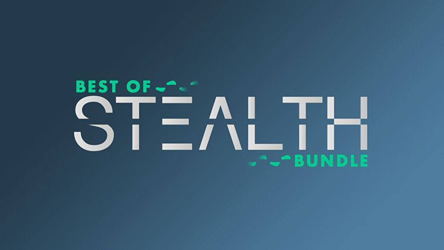 a graphic advertising humble's best of stealth bundle, in green and silver. ai upscaling artefacts are obvious.