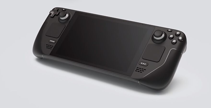 An image of the Steam Deck, Valve's new handheld PC gaming device.
