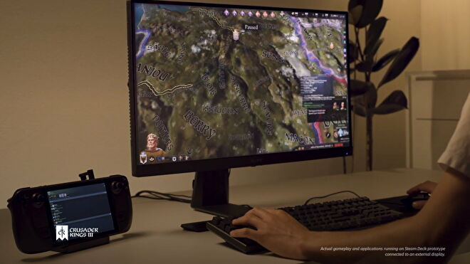 A Steam Deck connected to a monitor, mouse and keyboard, just like an ordinary PC