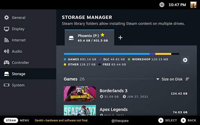 An alleged screenshot of the Steam Deck UI, showing a breakdown of Steam's device storage usage.