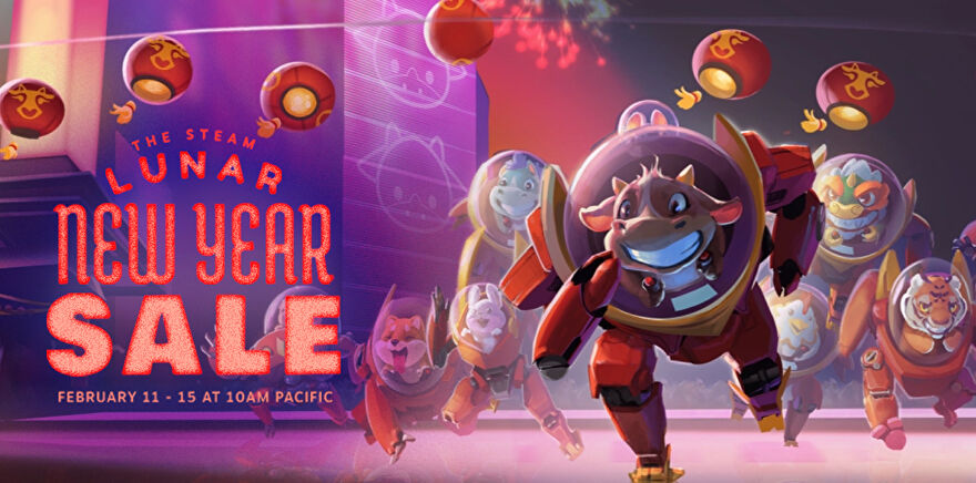 Logos for Steam's Lunar sale in 2021, featuring a cartoon ox (because it's the Year Of The Ox) and a spread of other animals behind them, wearing space suits.