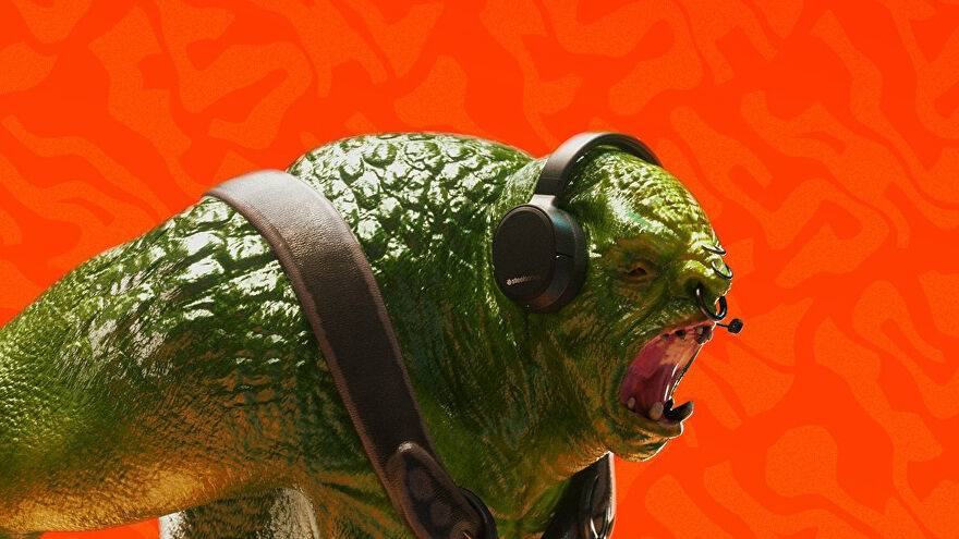 A photo of a plastic ogre wearing a SteelSeries gaming headset, in front of an orange background.