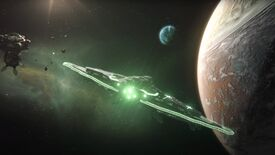 A still from the Stellaris 3.1 Lem update trailer, showing a spaceship with green lights flying in space towards a planet on the right of the screen.