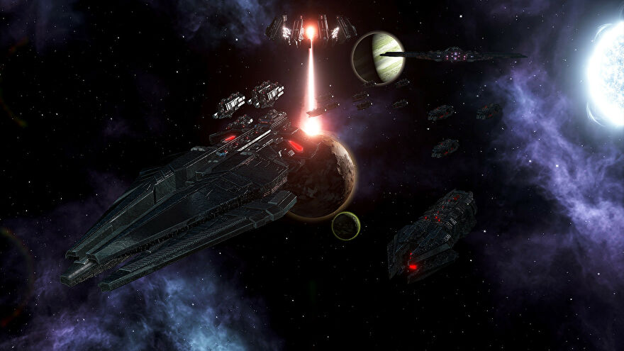 A Stellaris: Nemesis screenshot showing an imposing new ship design which looks like a Star Destroyer.