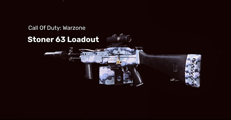 A Stoner 63 from COD Warzone on a blank background.