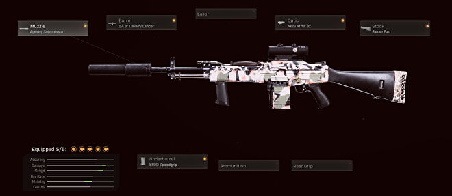 This sniper support Stoner 63 uses the agency suppressor, 17.8 inch cavalry lancer, axial arms 3x, raider pad, and SFOD speedgrip