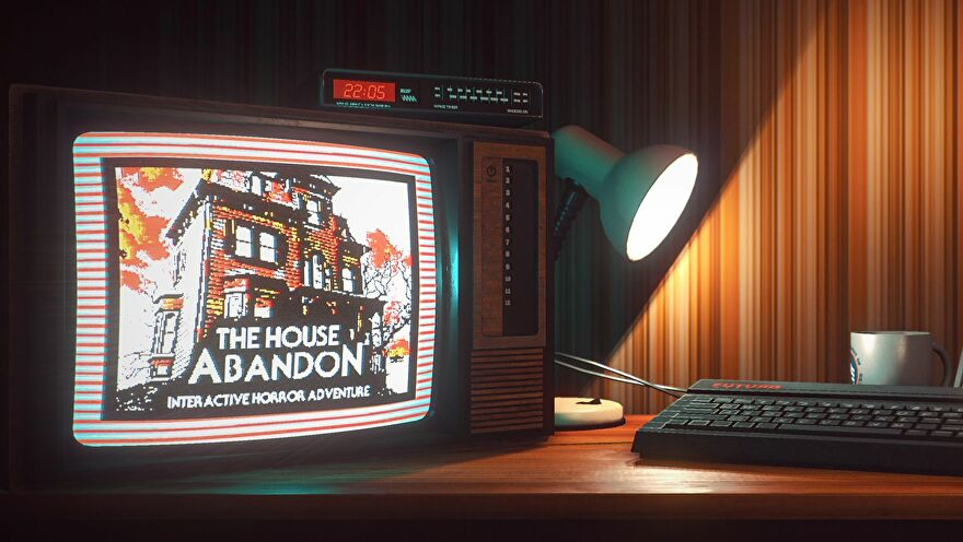 """Image from Stories Untold of a TV with the text """"The House Abandon: Interactive Horror Adventure"""""""