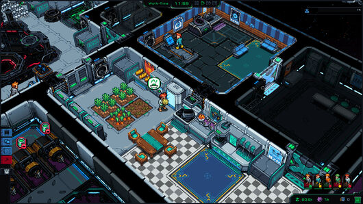 Starmancer has very nice blocky rooms, this one is a farm! There's a little guy tending to some crops.