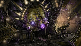 A screenshot of Strangeland, a point-and-click adventure, showing a creepy building shaped like clown's head, its tongue lolling out like a squishy red carpet.