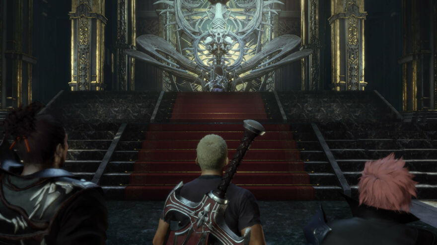 The party stand before a magnificent throne in a Stranger Of Paradise Final Fantasy Origin screenshot.