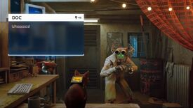 A still of the Stray trailer showing a cat with a computer on its back and a flying robot pal talking to a bipedal robot called Doc in a lab coat and with a computer face.