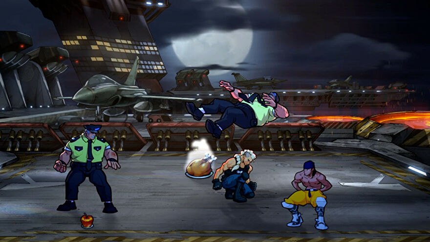 A screenshot of Streets Of Rage 4's Mr. X Nightmare DLC depicting a new playable character crouching next to a cooked chicken on a military base.