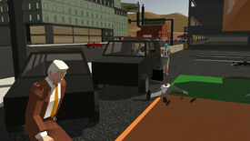 A screenshot of Sub Rosa, showing a man crouched behind the back of a car while slightly beyond him a body lies on the ground next to three other players, two of whom are inside a different car.