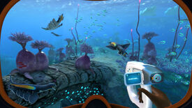 A beautiful undersea scene seen through googles in a Subnautica: Below Zero screenshot.