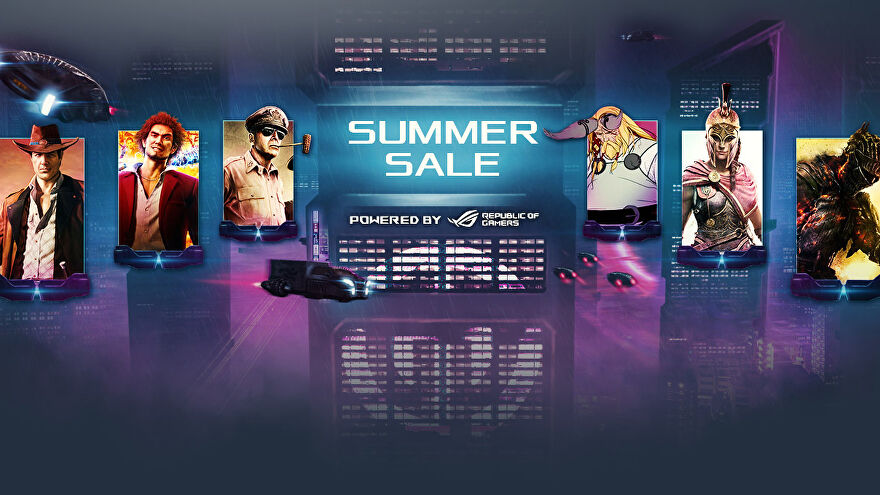 a graphic showing a number of characters included in games in the gamesplanet summer sale, including dark souls guy, kassandra from assassin's creed odyssey, the company of heroes guy and the yakuza like a dragon protagonist