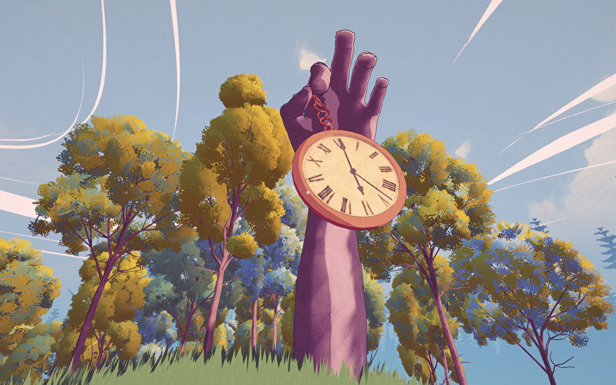 A giant hand emerging out of the ground, surrounded by leafy trees, is holding a large pocket watch. This represents the time limit in Summertime Madness