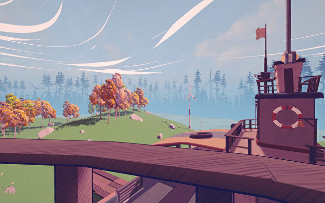 A view from the upper deck of the wooden puzzle ship in Summertime Madness, showing a beautiful river valley