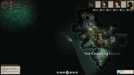 A ship nears an island labelled The Chapel of Lights in a screenshot from Sunless Sea.
