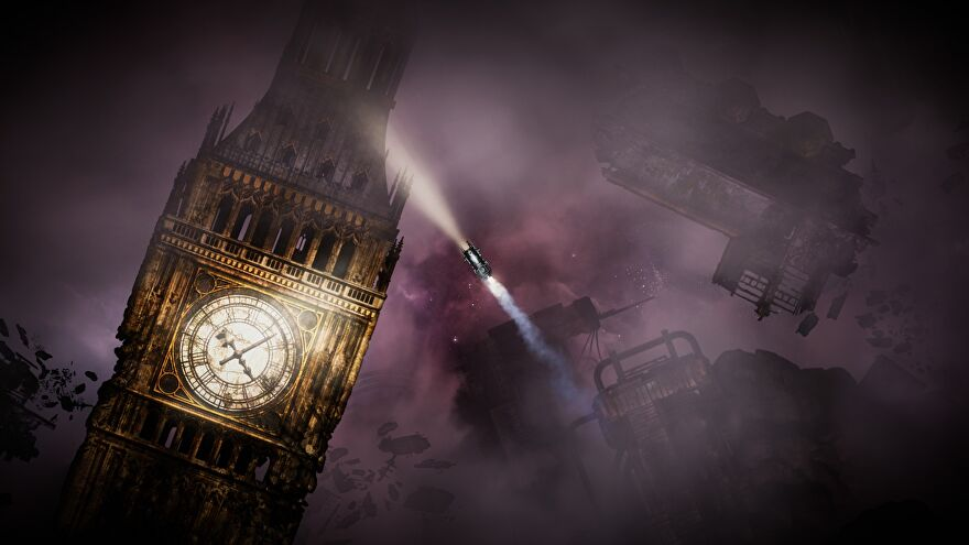 A Sunless Skies ship floats around a sunless sky, also, Big Ben is there.