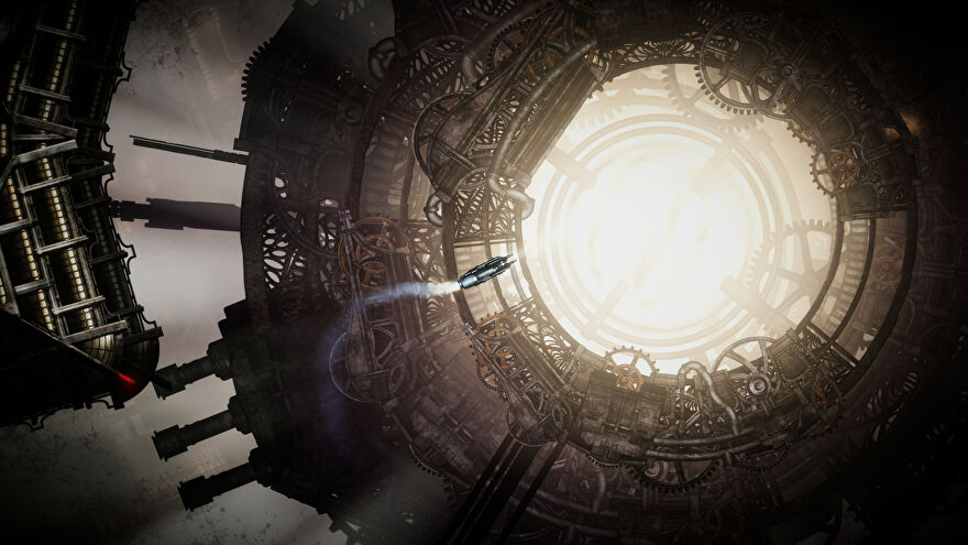 Sunless Skies - A small ship flies in front of a bright, glowing clockwork construction in space.