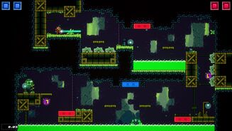 A screenshot of 2D platformer Super Magbot, showing a level in a cave featuring occasional red and blue magnetic platforms and a lot of spinning blades and green acid ready to kill you in between.