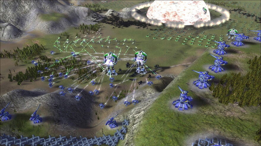 A mech battle in Supreme Commander