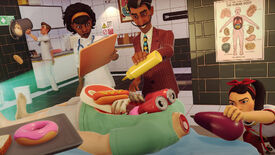 A man pours mustard into the open stomach of a man with a severed head in Surgeon Simulator 2
