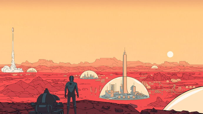 Surviving Mars artwork showing an astronaut and a robot looking out over a Martian landscape