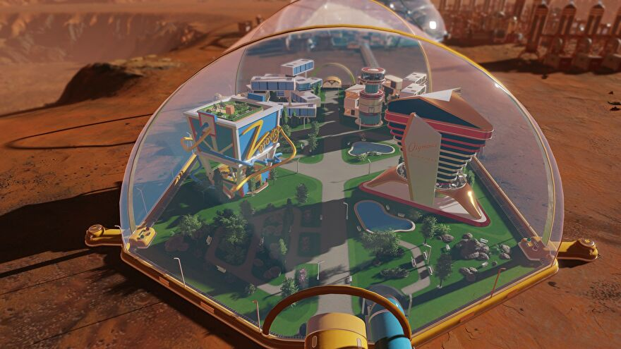 Tourist buildings inside a dome in a Surviving Mars DLC screenshot.