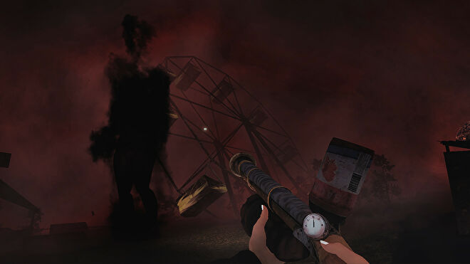 The protagonist of Sylvio aims a makeshift gun at a shadow in front of an abandoned Ferris wheel